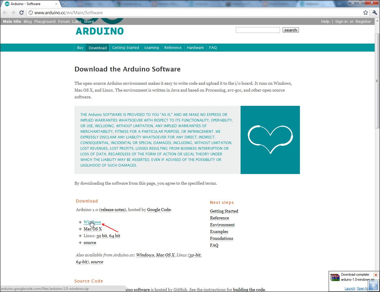 12 - Acesse o site do Arduino, na sessão de downloads, selecione Windows