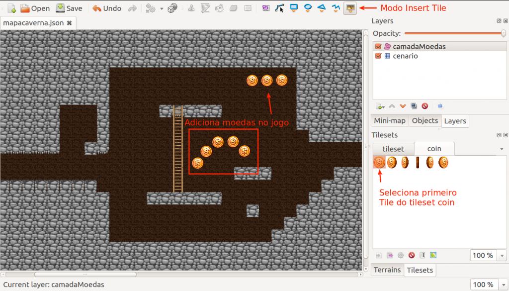 adicionando moedas no jogo com tiled map editor