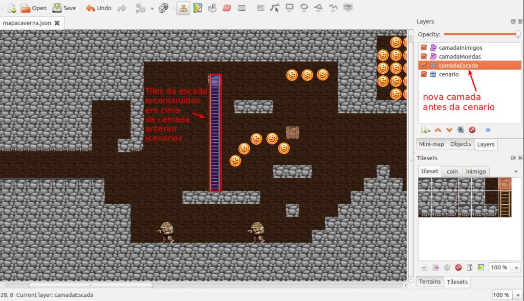 A camadaEscadas contém todas as escadas do jogo, que precisam ser redesenhadas em cima da camada cenario.