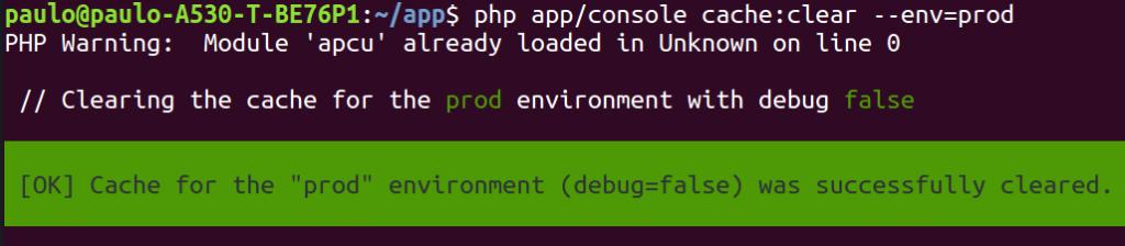 Clear cache symfony funcionando corretamente com apc