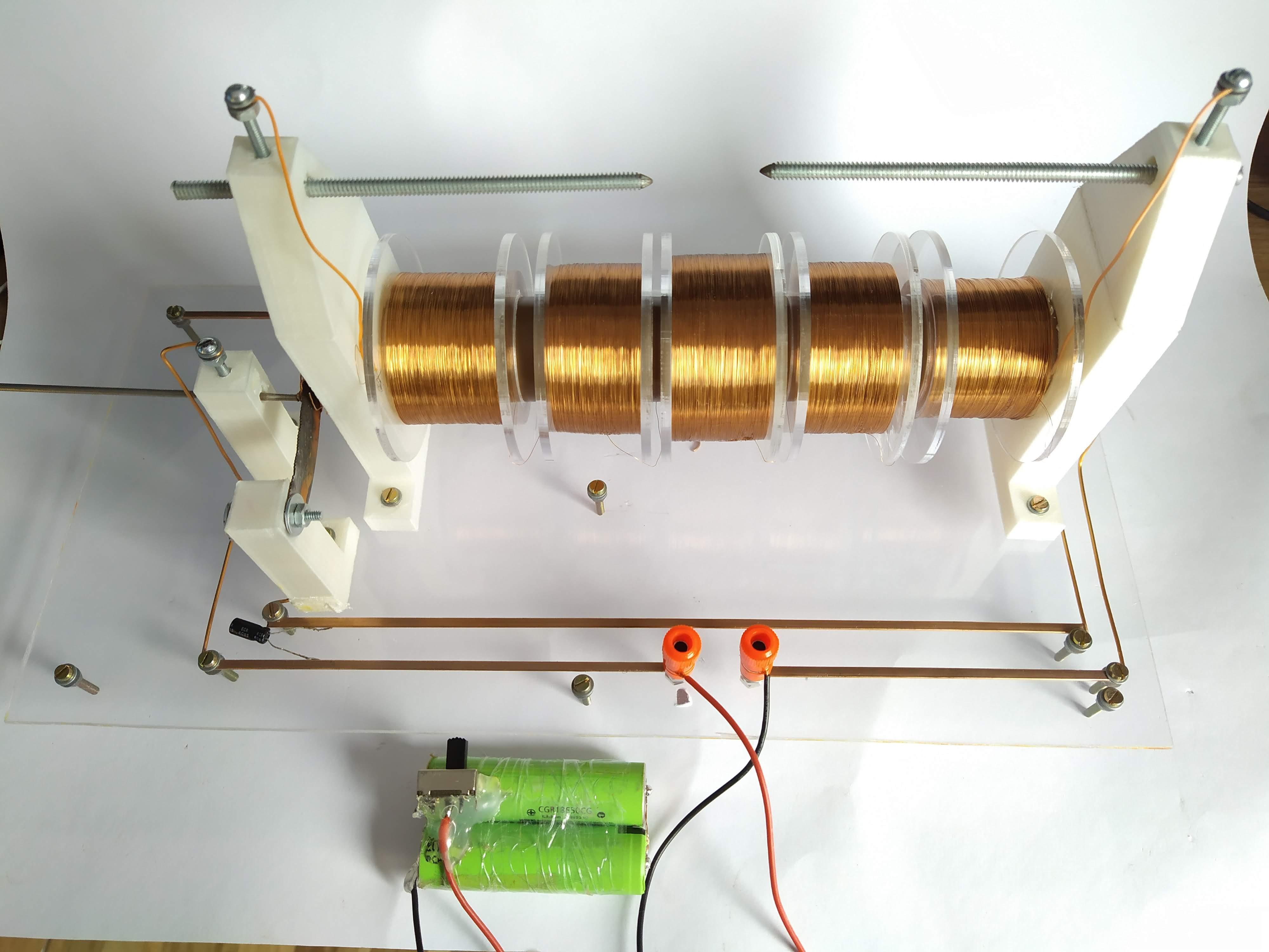 bobina de indução Ruhmkorff construída em casa